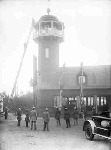 Brandövning på Kiruna Brandstation.